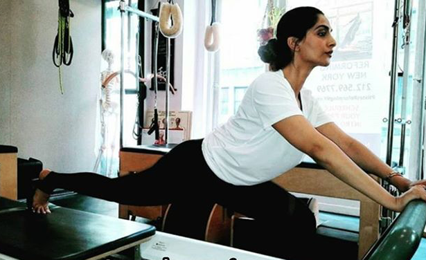 Sonam Kapoor & Anand Ahuja dole out quarantine workout goals as they train virtually with Pilates trainer