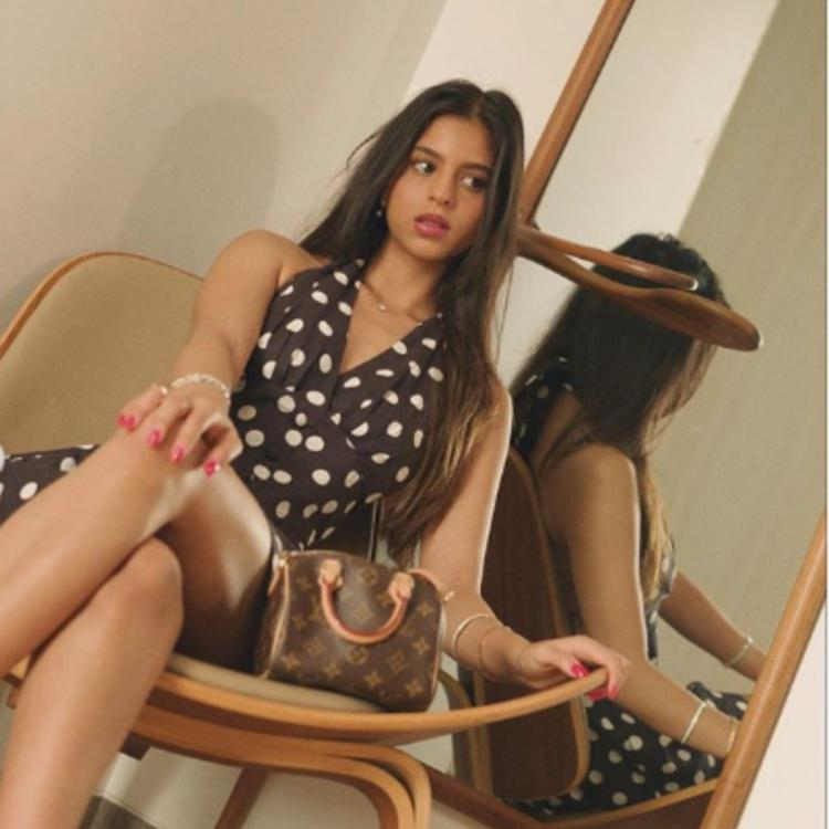 Suhana Khan is a sight to behold in a polka dotted dress with a baby Louis Vuitton bag; Fans call her 'Queen'