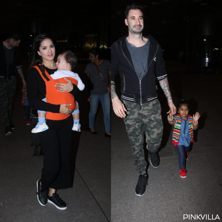 Sunny Leone and Daniel Weber's airport pics with their kids Nisha, Noah & Asher are too adorable