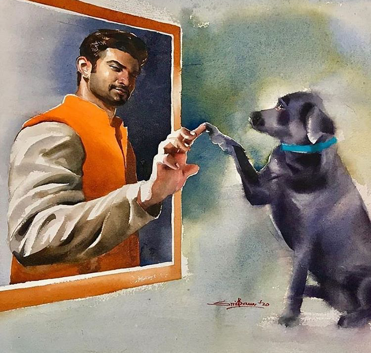Sushant Singh Rajput's fan paints heartening portrait of late actor with his dog and it'll make you emotional