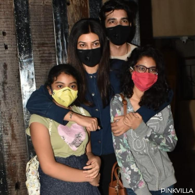 Sushmita Sen with Bf Rohman Shawl and daughters