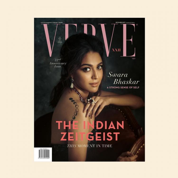 Swara Bhaskar flaunts her lunar phase back tattoo on the cover of Verve, December 2017