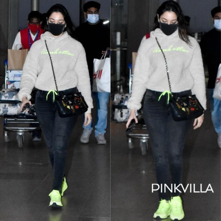 Tamannaah Bhatia shows us how to slay with neon in an outfit as she gets spotted at the airport; See Photos