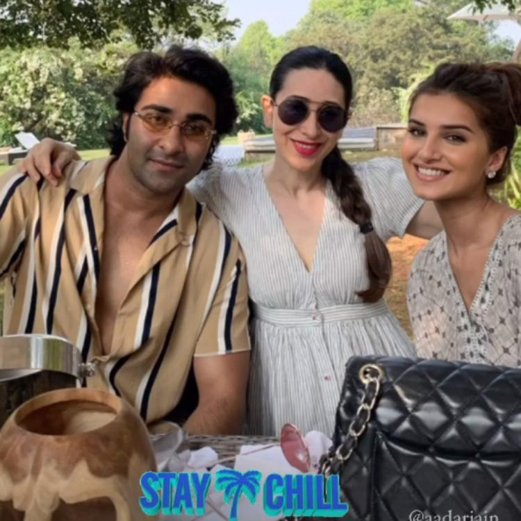 Tara Sutaria and Aadar Jain pose for a happy picture with Karisma Kapoor as they gear up to welcome 2021