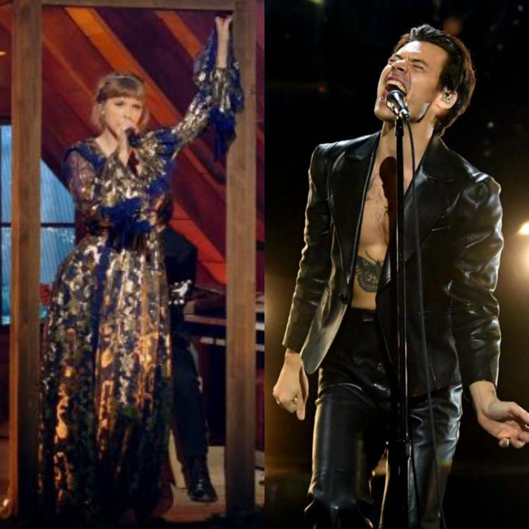 Grammys 2021: Taylor Swift recreates Folklore's forest, Harry Styles' Watermelon Sugar act wins over fans.