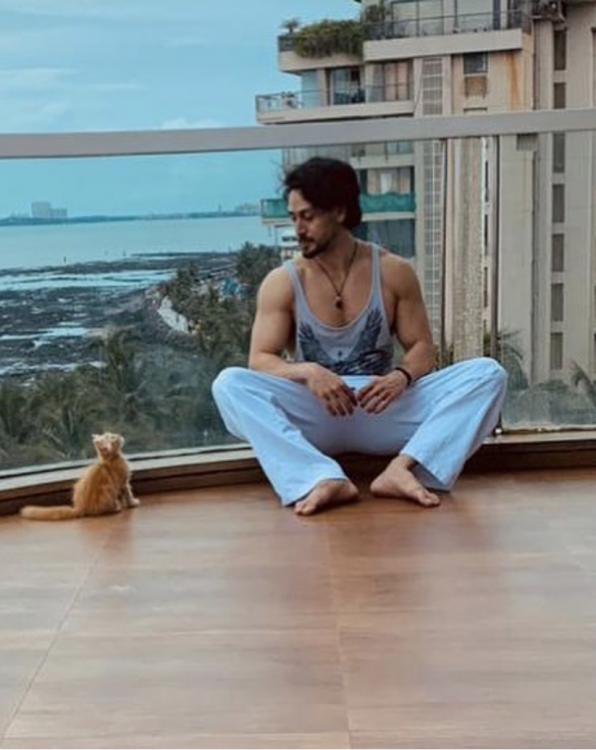 Tiger Shroff lovingly looks at his pet while enjoying rains in the balcony; Disha Patani is all hearts; PHOTO