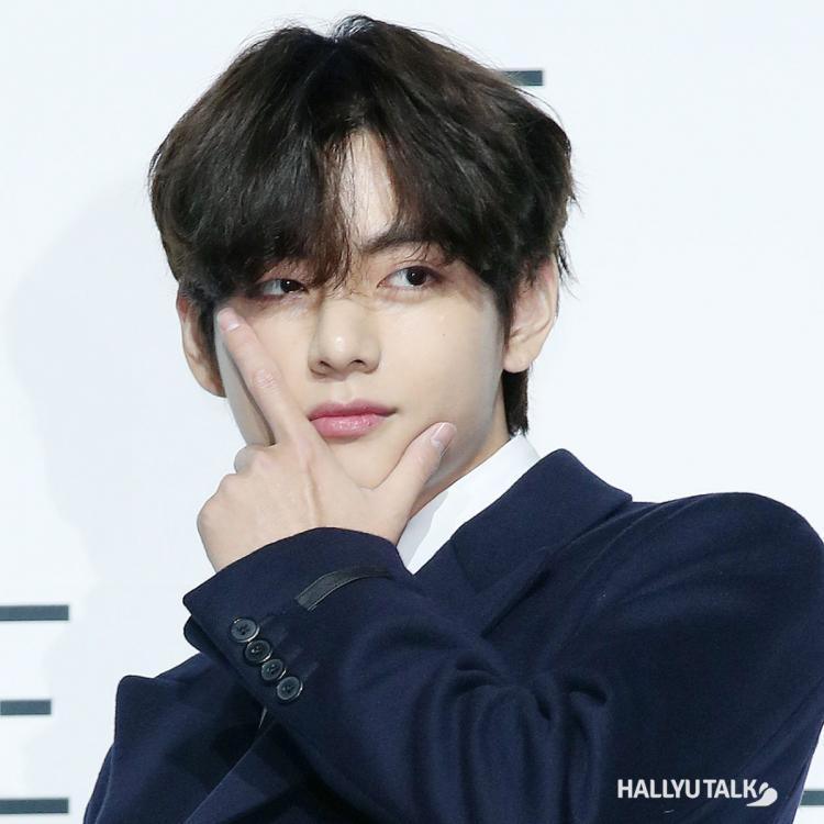 BTS' V at the press conference for the release of BE.