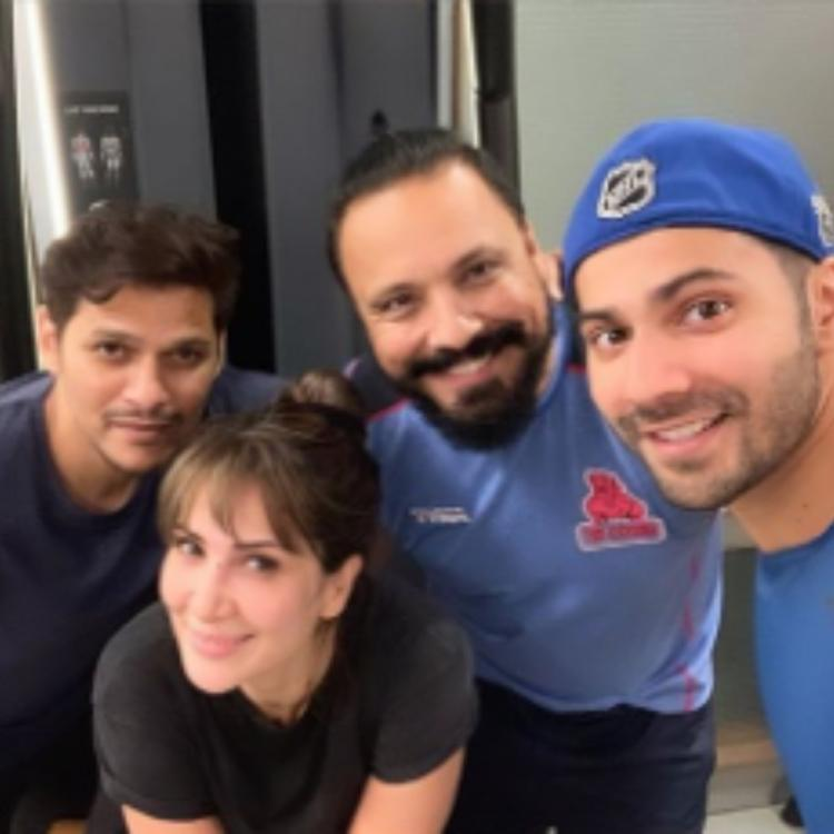 Varun Dhawan and Kim Sharma have some fun time together at the gym; View PICs