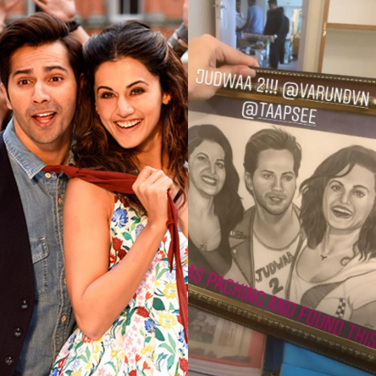 Varun Dhawan blames his Judwaa 2 co star Taapsee Pannu for not smiling in a photo with Jacqueline Fernandez