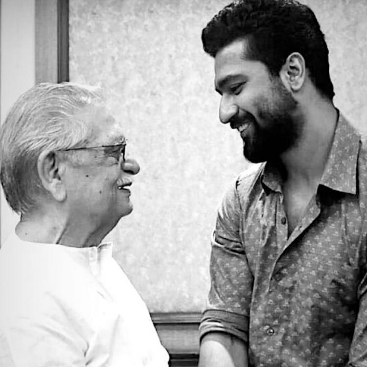 Vicky Kaushal shares a monochrome photo of him greeting Gulzar as the lyricist turns 86 and it is heartwarming