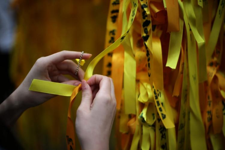 Yellow ribbons to pay a tribute to the Sewol Ferry Disaster