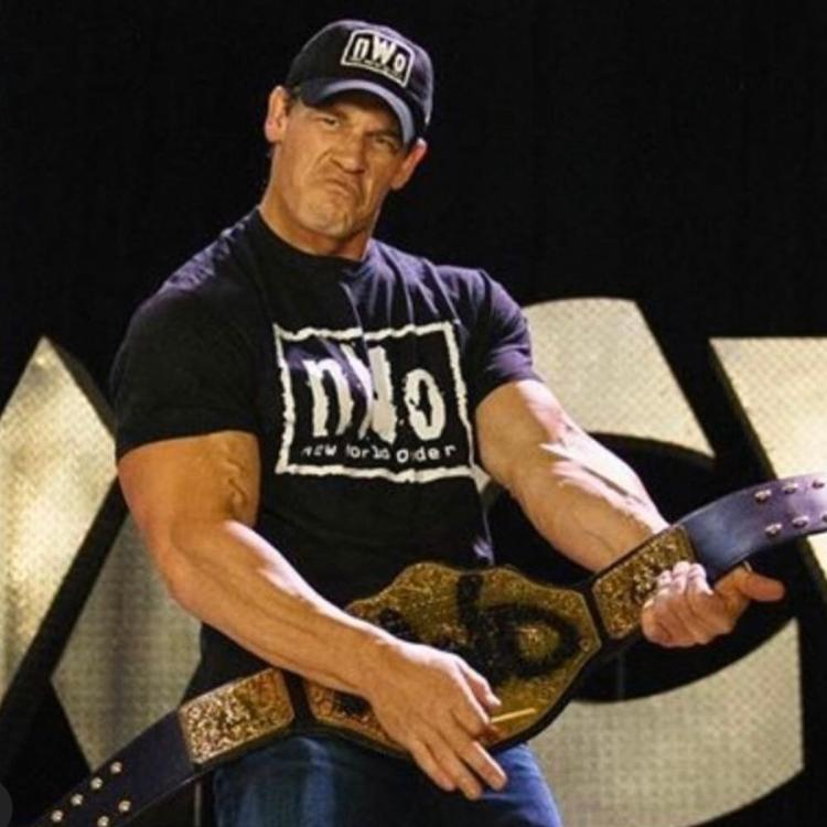 John Cena was seen in NWO gear to showcase himself as a heel during his Firefly Funhouse Match against Bray Wyatt aka The Fiend at Wrestlemania 36.