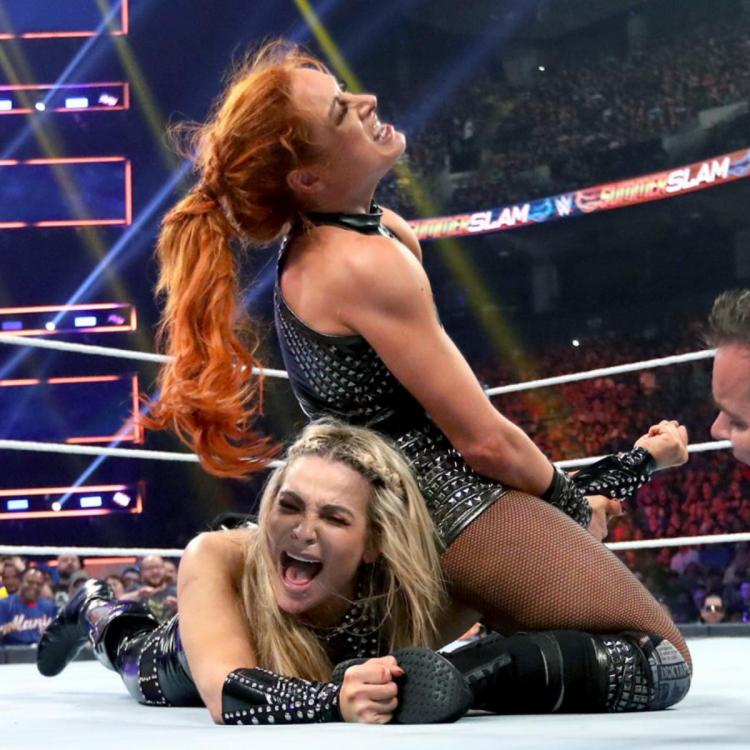 Becky Lynch used the disarmer to win the RAW Women's Championship from Natalya.