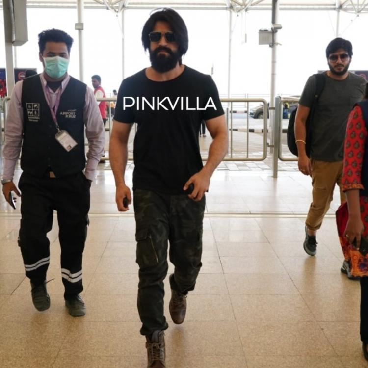 PHOTOS: KGF star Yash looks rugged in black tee & camouflage pants as he gets spotted at the Hyderabad airport