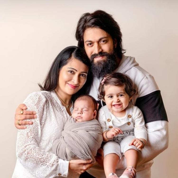 KGF star Yash, wife Radhika Pandit pose with Ayra and Rocky Jr make for a perfect family portrait; See Photo