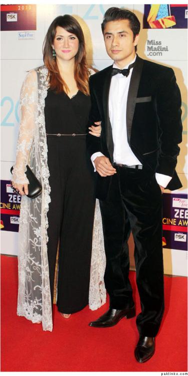 Event,Ali Zafar with wife at Zee Cine awards 2013
