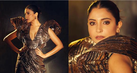Anushka Sharma shows the right way to pull off an OTT gold outfit at Femina Beauty Awards; Yay or Nay?