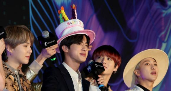BTS member Jin steals the show with his birthday hat at ...