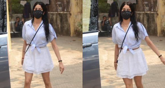 PHOTOS: Janhvi Kapoor steps out in a breezy skirt and top as she gets snapped after pilates class - PINKVILLA