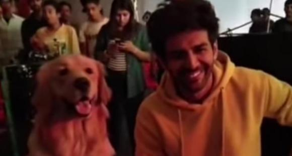 Kartik Aaryan imitates an adorable dog while shooting and we cannot decide who is cuter; Watch