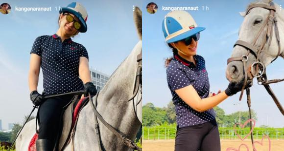 Kangana Ranaut kicks off Sunday morning on the racecourse with a wide smile and her 'friend'; See Pics