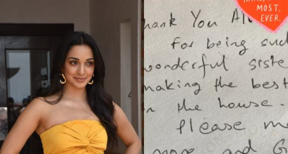 Kiara Advani gets a hand written note from younger brother thanking her for making best dessert in the house