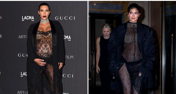 Kim Kardashian and Kylie Jenner give snazziest maternity style goals in black sheer one piece outfits - PINKVILLA