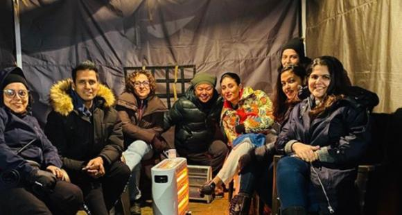 Kareena Kapoor Khan and team Laal Singh Chaddha sit around the heater on a chilly night shoot; Check Out