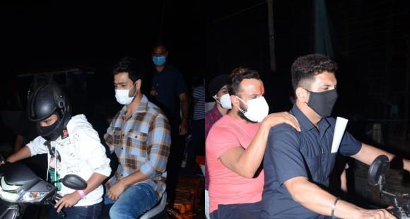 PHOTOS: Vicky Kaushal & Saif Ali Khan look cool as they sit behind scooty & bike respectively post jetty ride