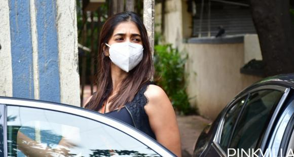 PHOTOS: Pooja Hegde slays in black and white outfit as she steps out with facemask
