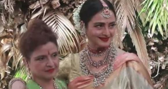 Rekha makes RARE public appearance with younger sister Radha; Watch the unmissable video here