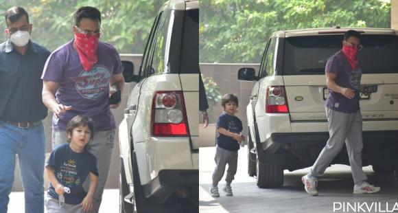 Saif Ali Khan questions paps as they snap him & Taimur outside their building; Photographers apologise; WATCH - PINKVILLA