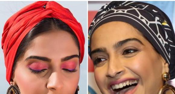Sonam K Ahuja's printed silk scarf is the perfect remedy for a bad hair day; Check out how she styled it