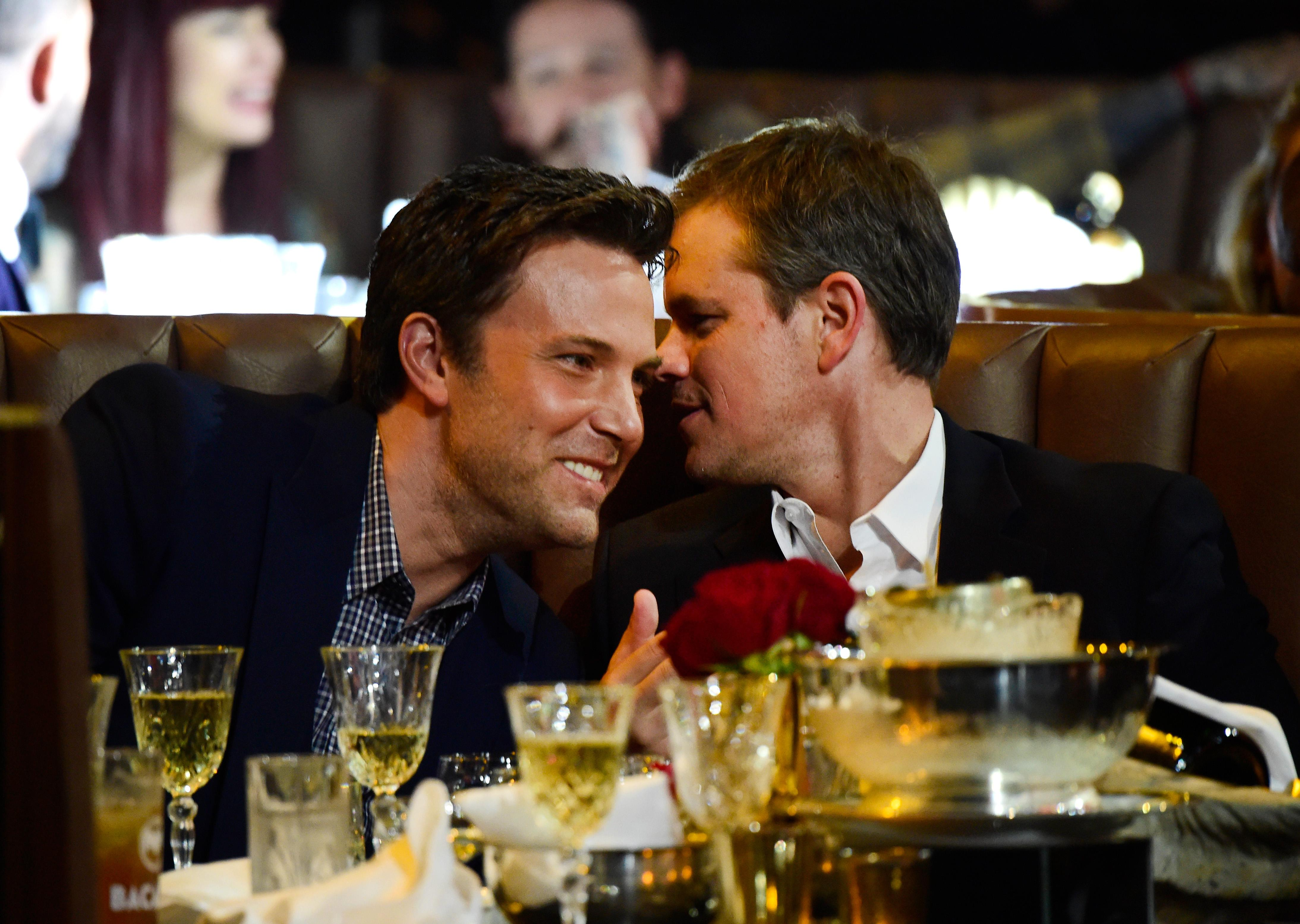 Matt and Ben's candid click as they share a conversation during an event