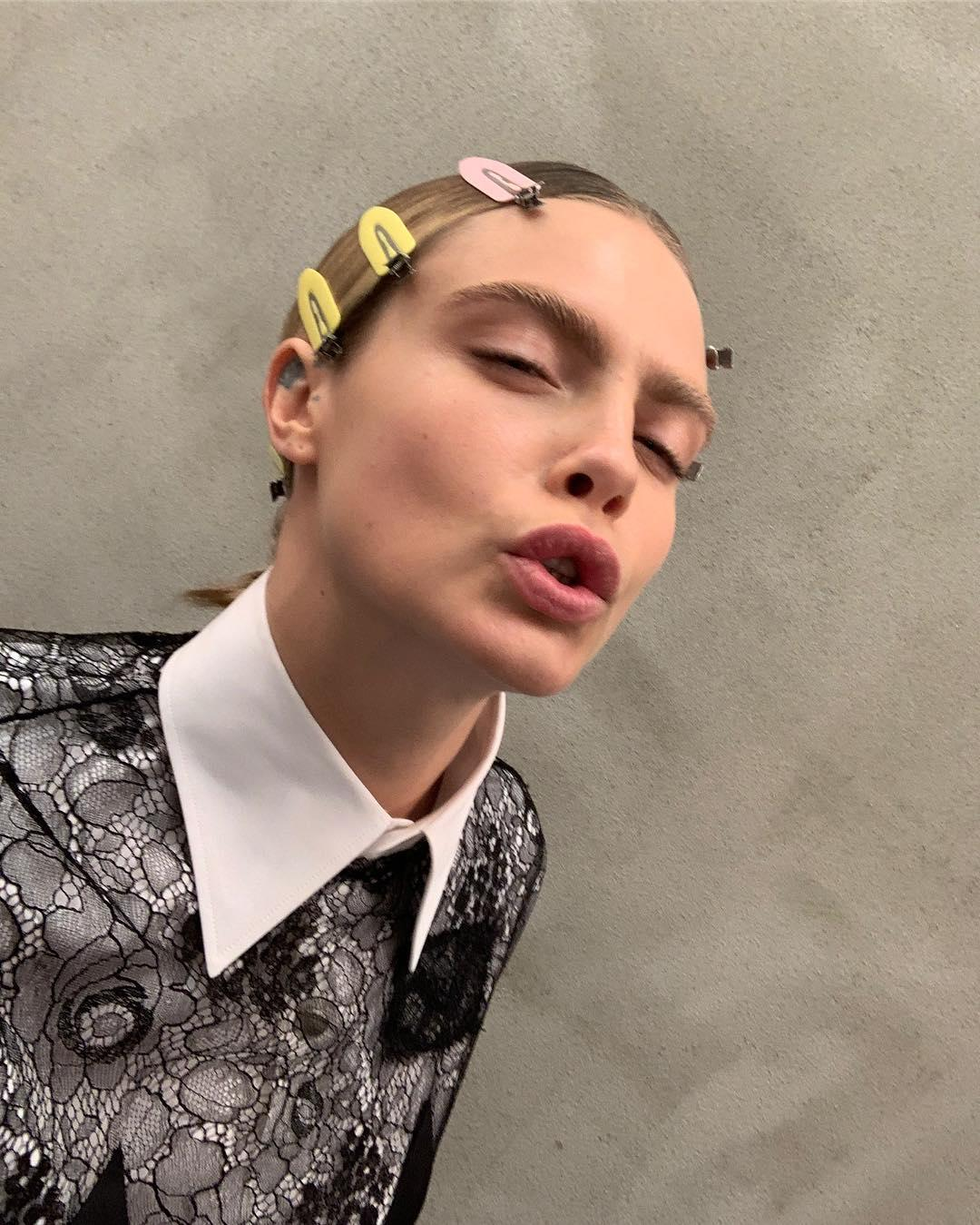 Cara Delevingne poses in a unique pout on Instagram