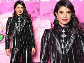 Priyanka Chopra shows the right way to rock a shiny pantsuit as she gets snapped in Milan; Check it out