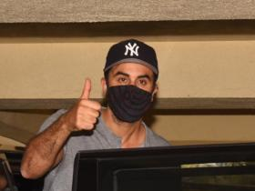 PHOTOS: Ranbir Kapoor teams up casuals with a striped mask and cap as he steps out in the city for dubbing