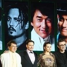 Aamir Khan posing with Jackie Chan & Johnny Depp in China is too much brilliance in one frame; view pics