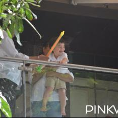 Taimur Ali Khan looks super excited as he splashes some water while playing Holi; See Pics