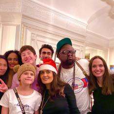 PHOTO: The Eternals stars Angelina Jolie, Salma Hayek & cast pose together happily at a pre Christmas party