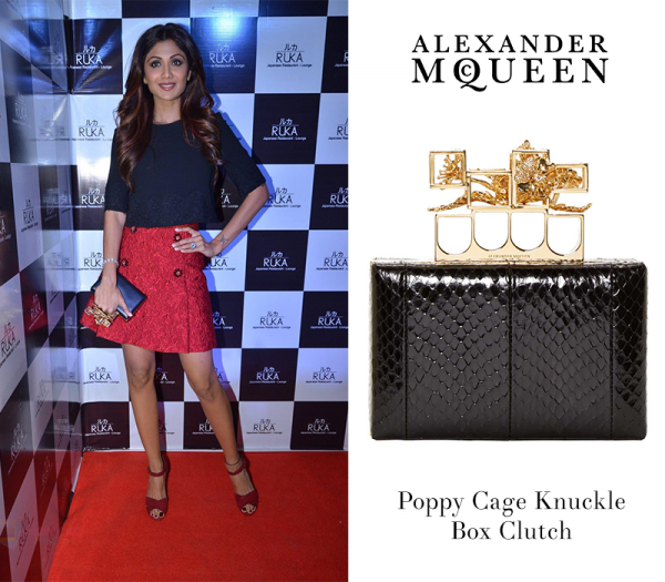 53d2258e25ef Shilpa Shetty carves a chic mix of mystery and sophistication with this  McQueen clutch.