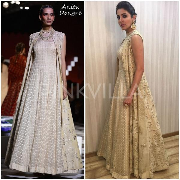 6bfbee6883f5 Later in the day, she wore a beautiful ivory dress with a gold embroidered  jacket by Anita Dongre. Statement making earrings and ring and hair tied up  in an ...