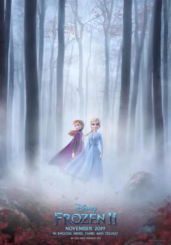 frozen 2 new poster  elsa and anna battle cold winds in the woods ahead of the new trailer
