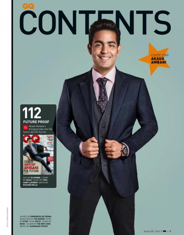 Akash ambani flashes his dimpled smile on the cover of gq pinkvilla a neck tie was by gucci and jeans were by hugo boss and added a tie bar by the bar code along with watch by audemars piguet ccuart Choice Image