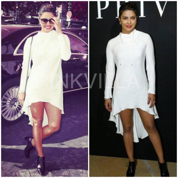 99b0130e5531 The  Quantico  actress sat FROW at the Armani show wearing a white  asymmetrical hem dress from his Pre Fall 2017 collection. Her cool casual  dress was ...