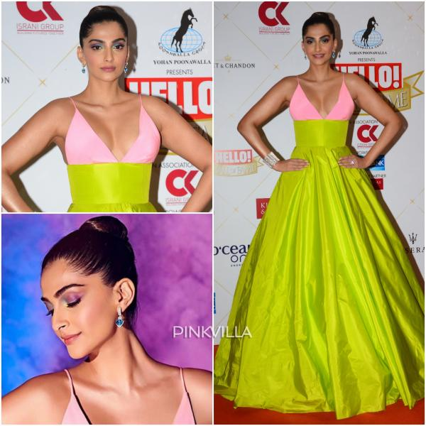 b0b71b2b25bd2 Adding a dash of more color to her look, she wore a pair of sapphire heart  shaped earrings from Zoya Jewels and accessorized her look with a diamond  cuff ...