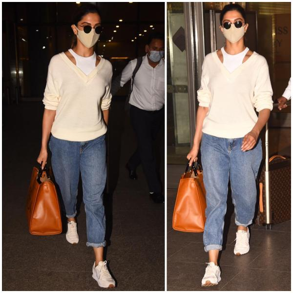 Deepika Padukone does layering right in a sweater & halter ...