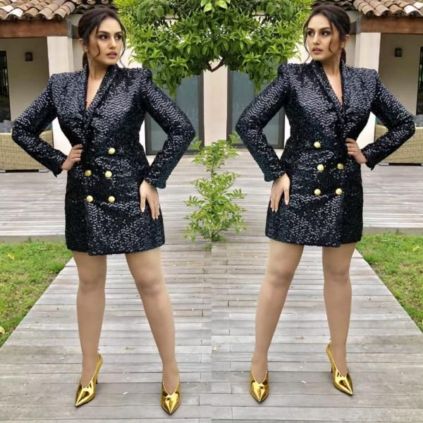 5f85941e05cd Qureshi opted for a sparkly black blazer dress by Balmain with large golden  buttons.