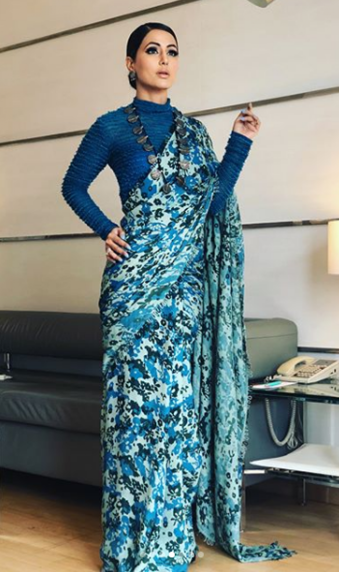Hina Khan looks like a vision in a blue saree as she attends an event   PINKVILLA