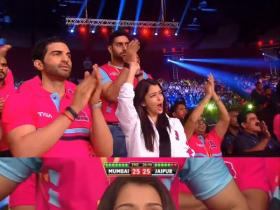 Aishwarya supports Abhishek at Pro Kabaddi match!